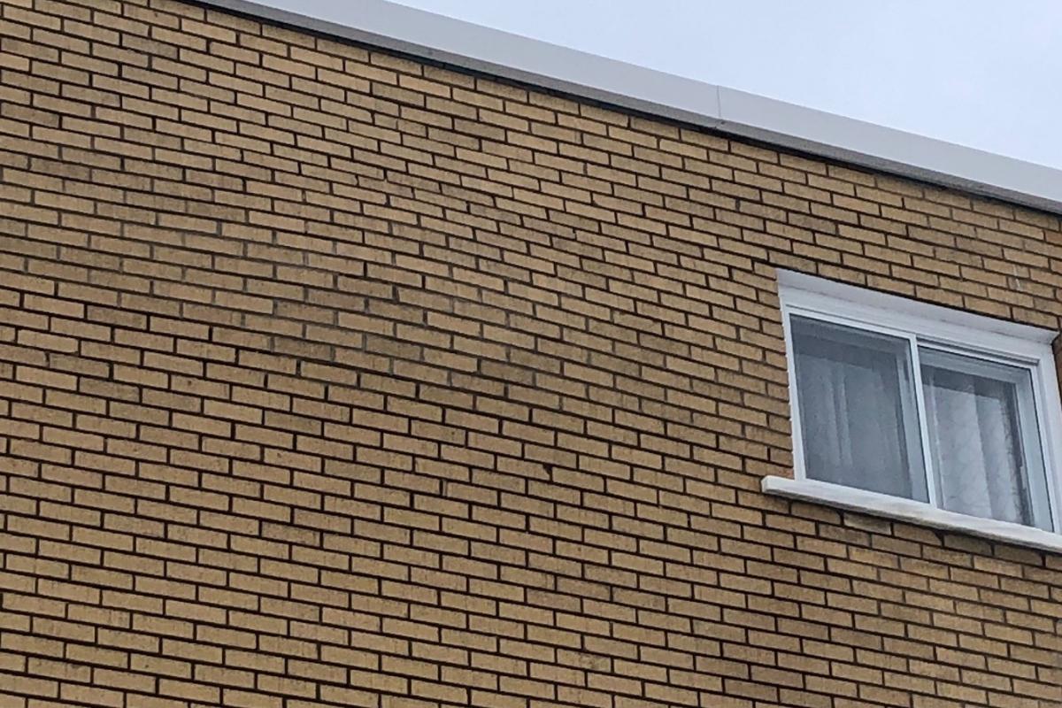 Bosse dans un mur de brique
